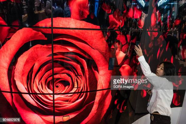 Digital LG Oled Full Vision screens seen at the Mobile World Congress The Mobile World Congress held in Barcelona Spain since 2006 and will be held...