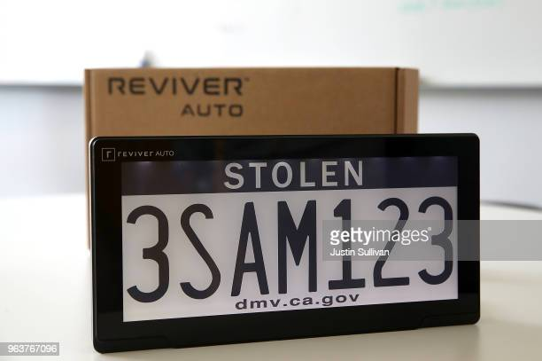 A digital license plate made by Bay Area company Reviver Auto part of a pilot project with the state Department of Motor Vehicles is displayed at...