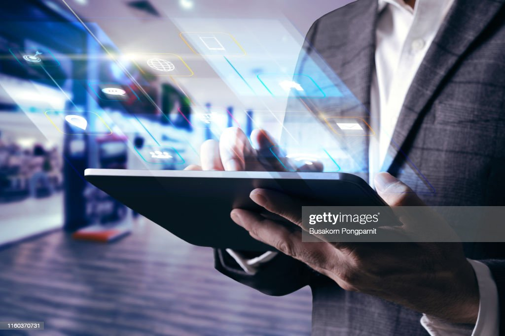 Digital marketing. Businessman using modern interface payments online shopping and icon customer network connection on virtual screen. : Stock Photo