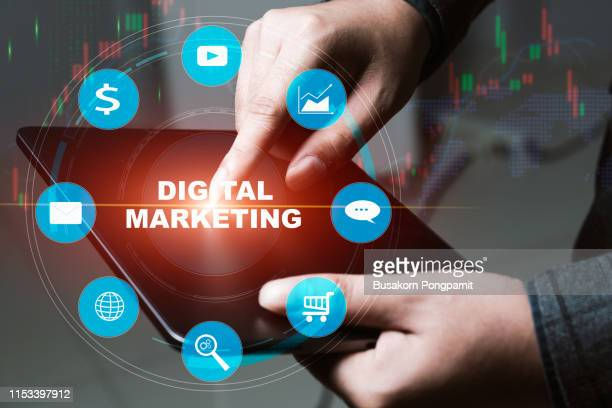 digital marketing online technology concept. - social media marketing stock pictures, royalty-free photos & images