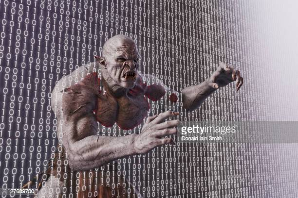 digital nightmare: monster emerges from projection of binary numbers - troll stock photos and pictures
