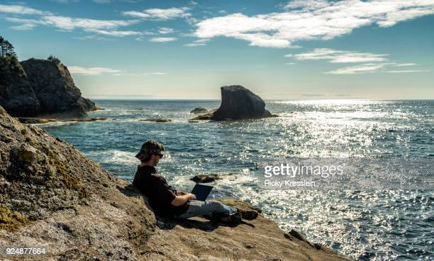 digital nomad - cape flattery - cape flattery stock photos and pictures