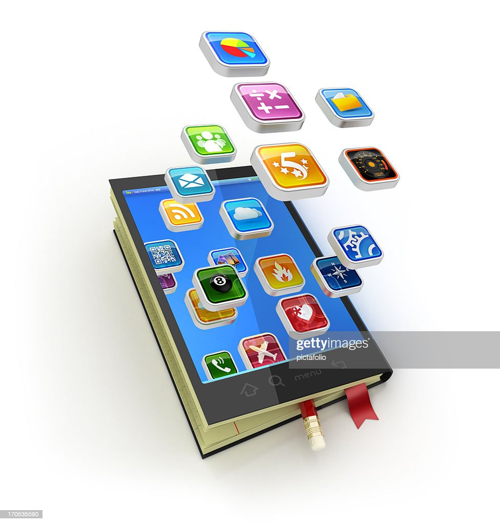 digital notebook and apps : Stock Photo