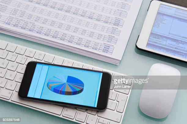 digital office desktop - stock price stock pictures, royalty-free photos & images