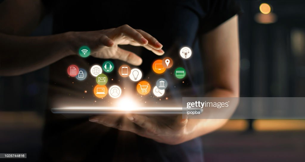 Digital online marketing commerce sale concept. Woman using tablet payments online shopping and icon customer network connection on hologram virtual screen, m-banking and omni channel. : Foto de stock