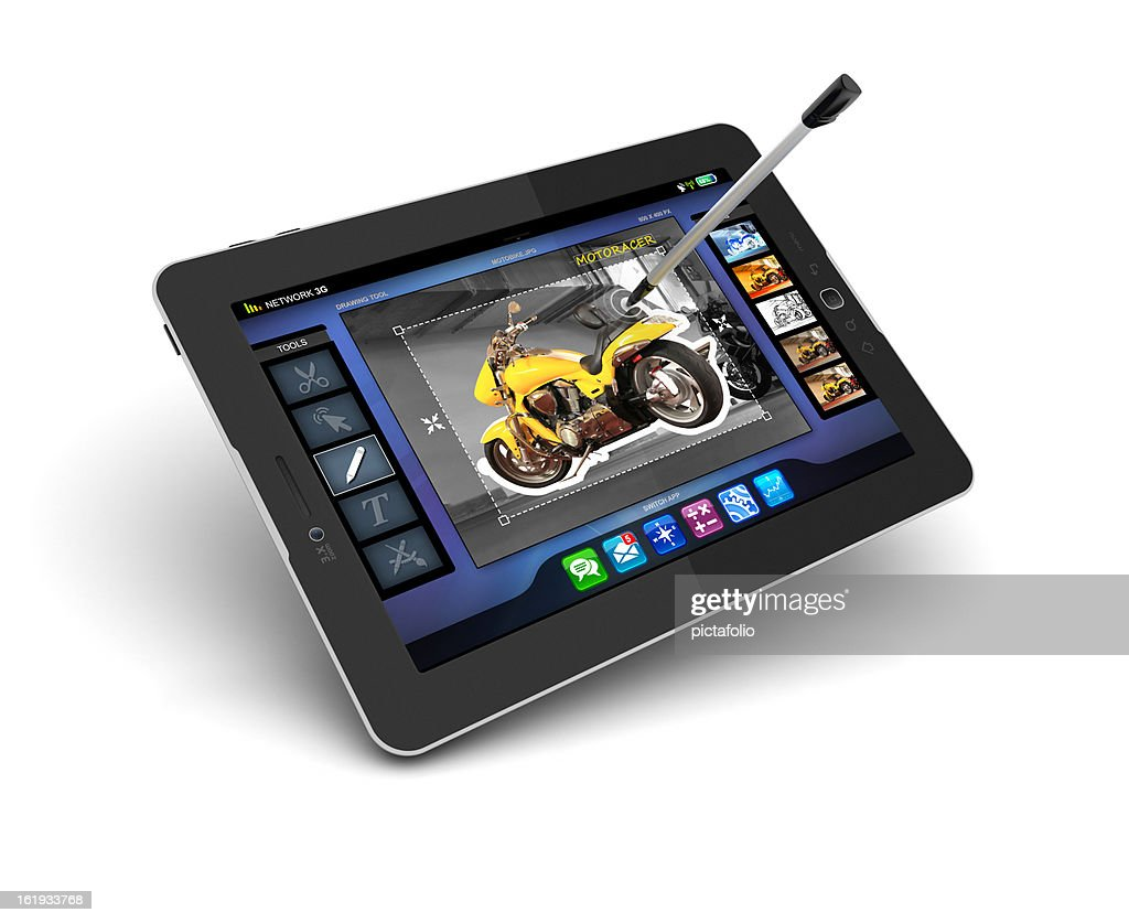 digital painting and drawing with stylus pen on tablet pc : Stock Photo