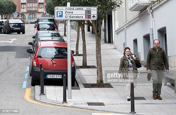 A digital panel informs of the existing free parking spaces available in the city center of Santander on March 16 2016 In Spain's historic port of...