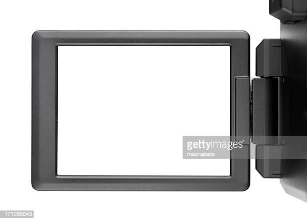 Digital photo camera with screen open.