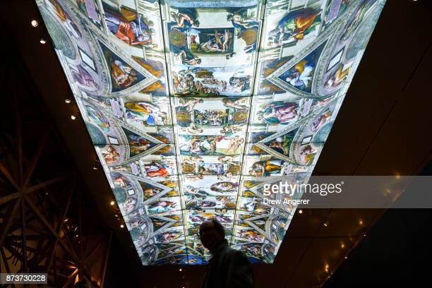 A digital photographic reproduction of the Sistine Chapel ceiling at onequarter scale is displayed at the new Michelangelo exhibit titled...