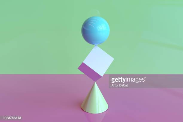 digital picture of geometric volumes in impossible balance stack one on each other. - equilibrio fotografías e imágenes de stock