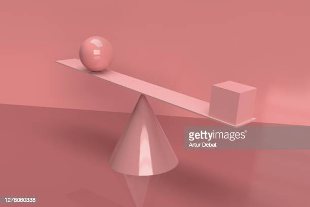 digital picture of group of objects in impossible balance. - physics imagens e fotografias de stock