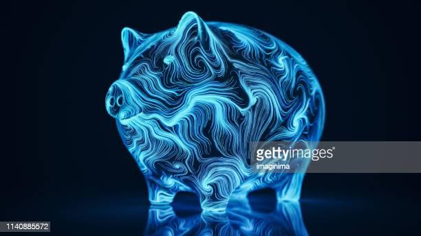 digital piggy bank - kryptowährung stock-fotos und bilder