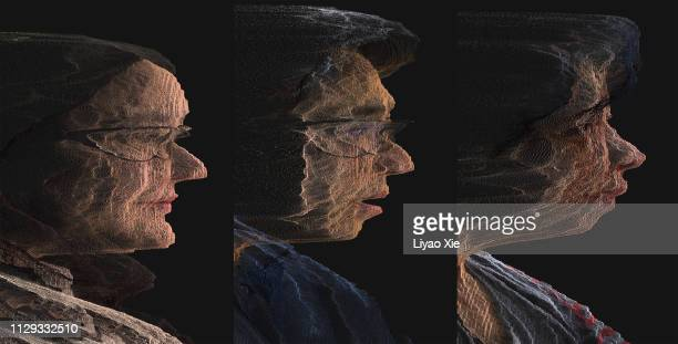 digital portrait:side view - people icons stock pictures, royalty-free photos & images