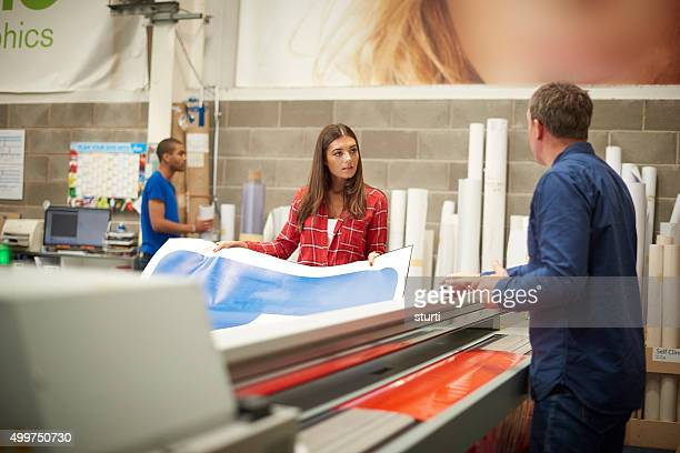 digital printing signage company - printing plant stock pictures, royalty-free photos & images