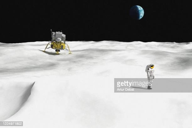 digital render during the moment of the moon landing with astronaut and the planet earth in the sky. - astronaut stock pictures, royalty-free photos & images
