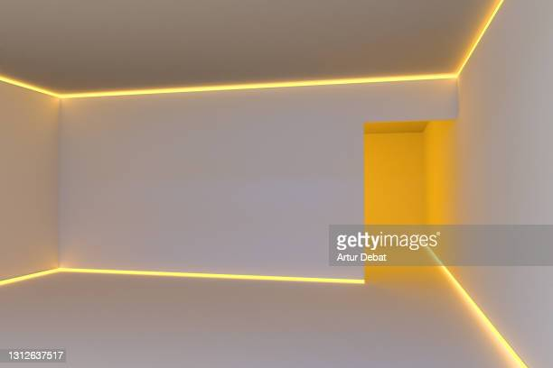 digital render of a room illuminated with neon lights in creative and futuristic design. - surexposition effet visuel photos et images de collection