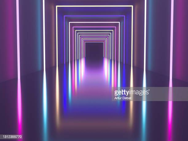 digital render of colorful corridor with neon lights and nice diminishing perspective. - catwalk stock pictures, royalty-free photos & images