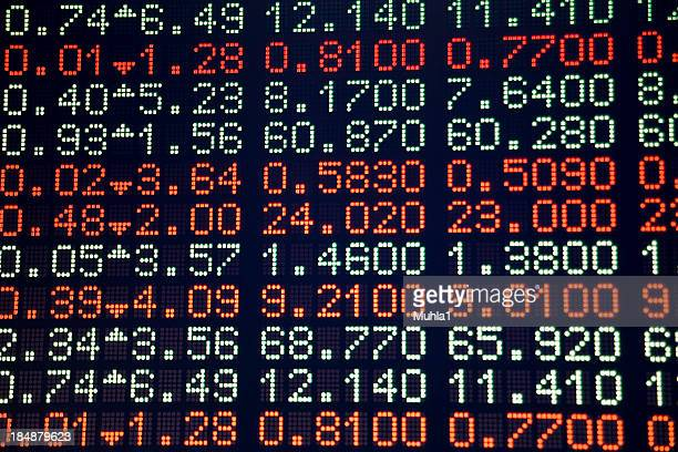 A digital screen showing stock data in red and white