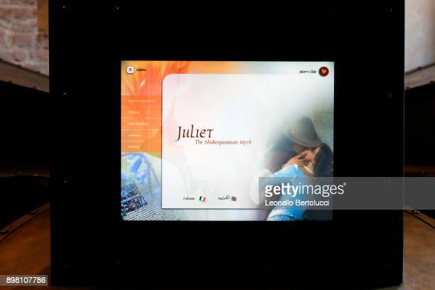 A digital screen through which visitors can send messages of love via email on November 20 2017 in Verona Italy The story of the Juliet Letters...