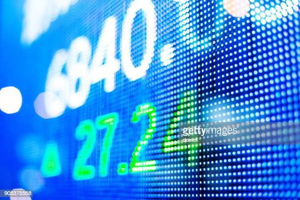 digital screen with data on stock market