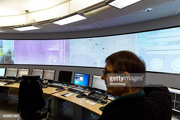 Digital screens display operational information in the control room aboard the Troll A natural gas platform operated by Statoil ASA in the North Sea...