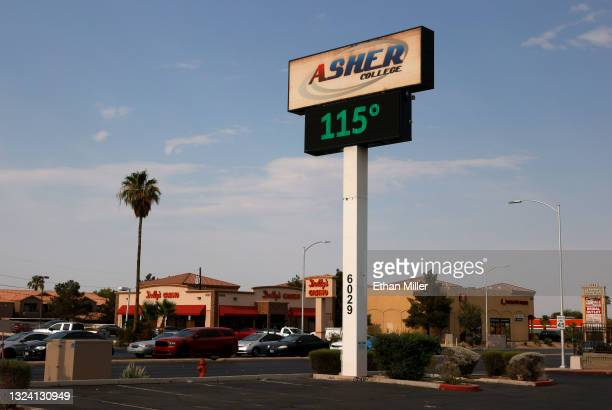 Digital sign displays a temperature of 115 degrees Fahrenheit as a heat wave continues to bake the Southwest United States on June 17, 2021 in Las...