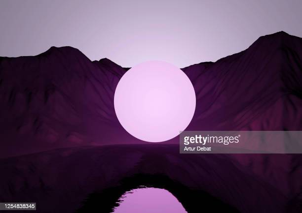 digital sphere glowing at night levitating in surreal landscape. - spirituality stock pictures, royalty-free photos & images