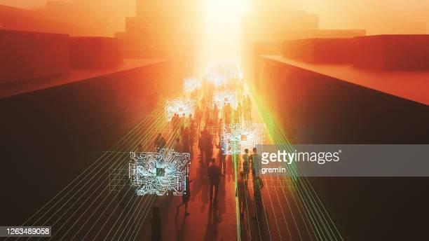 歩いている人とのデジタルストリートチェックポイント - 政治と行政 ストックフォトと画像