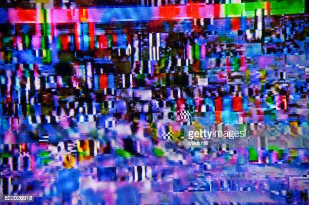 digital television interference pattern - tv distortion stock photos and pictures