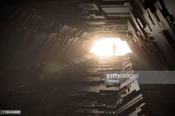 digital tunnel - landscape - hud interfaccia grafica utente foto e immagini stock
