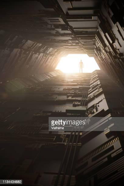 digital tunnel - portrait - hud graphical user interface - fotografias e filmes do acervo