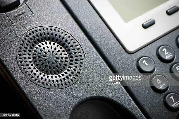 Digital VoIP conference phone, speaker close-up