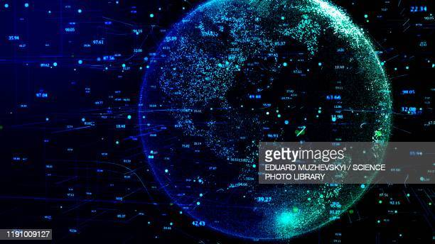 digital world, conceptual illustration - global communications stock pictures, royalty-free photos & images