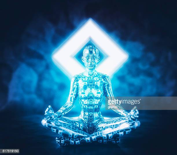 digital zen of the future - mystic goddess stock photos and pictures