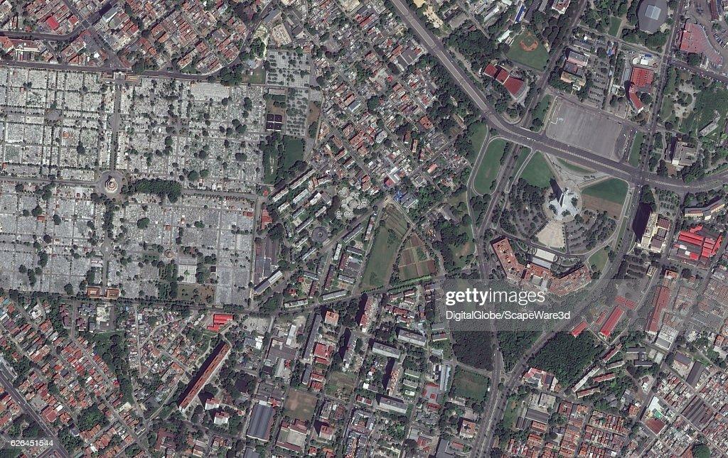 SEPTEMBER 28, 2016: DigitalGlobe imagery of the Plaza de la Revolucion in Havana, Cuba. : News Photo