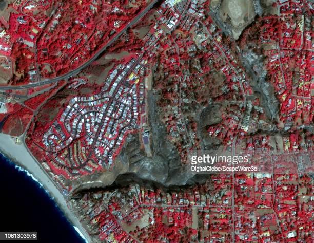 FIRE MALIBU CALIFORNIA NOVEMBER 13 2018 DigitalGlobe infrared satellite imagery of Malibu California after the Woolsey Fire made it all the way to...