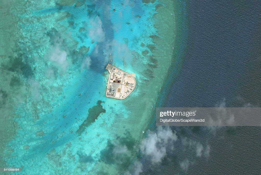 DigitalGlobe overview imagery of Johnson South Reef. (Image 2 of 2 of sequence.) It is also known as Chigua Reef, Yongshu Reef, Gc Ma Reef and Mabini Reef and is located in the southwest portion of Union Banks, in the Spratly Islands of the South China Sea. Photo DigitalGlobe via Getty Images.