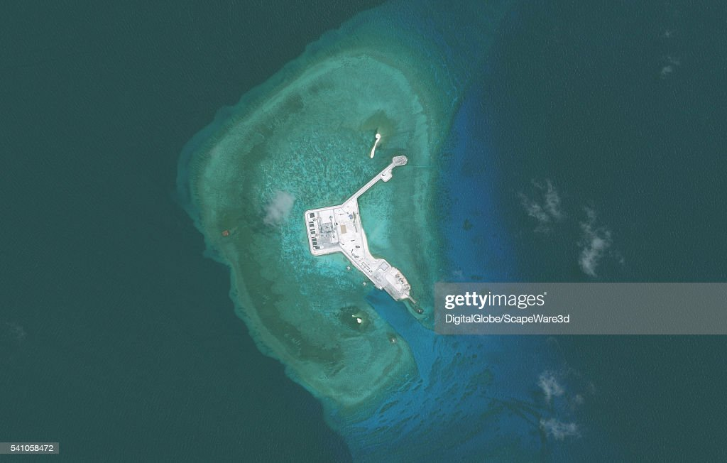 DigitalGlobe overview imagery of one of the Gaven Reefs. (Image 2 of 2 of sequence.) The Gaven Reefs are located in the Tizard Bank of the Spratly Islands in the South China Sea. Photo DigitalGlobe via Getty Images.