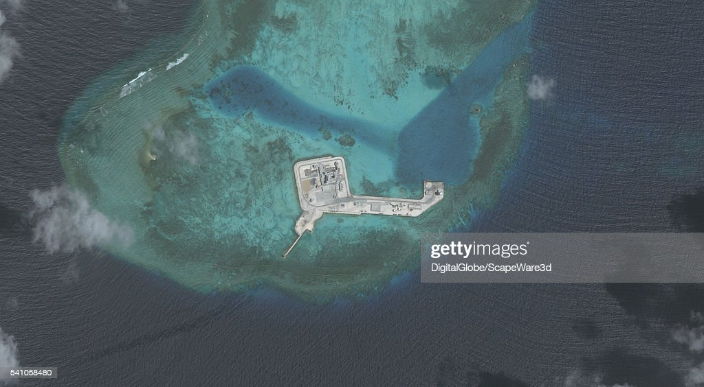DigitalGlobe overview imagery of one of the Hughes Reefs. (Image 2 of 2 of sequence.) The Hughes Reef is located in the Union banks area within the Spratly group of islands in the South China Sea. Photo DigitalGlobe via Getty Images.