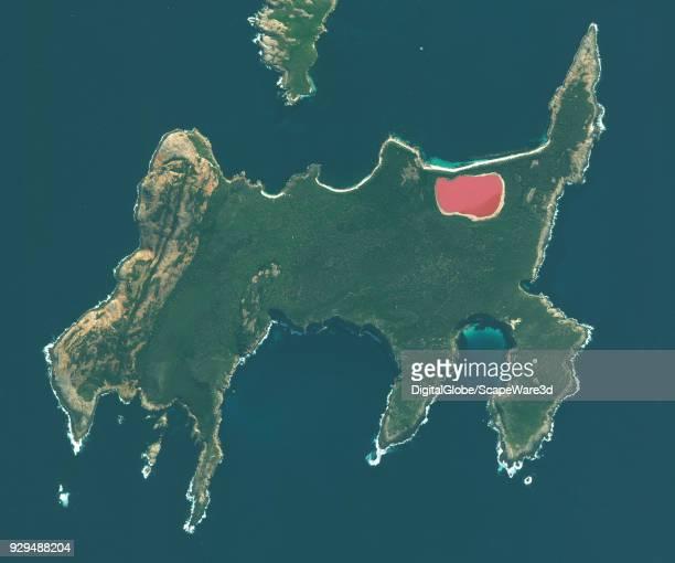 DigitalGlobe satellite image of Lake Hillier a saline lake off the south coast of western Australia located on Middle Island