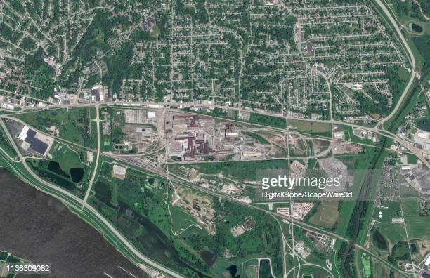 DigitalGlobe satellite imagery of Alton Steel in Alton IL Photo DigitalGlobe via Getty Images