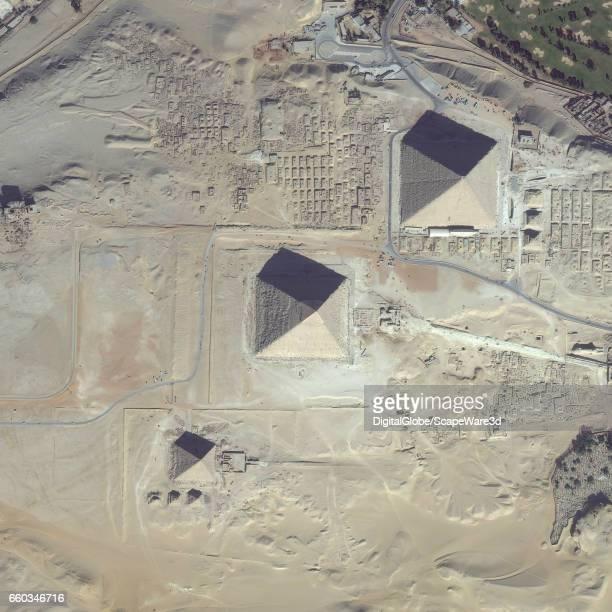 DigitalGlobe satellite imagery of the Giza Pyramid Complex on the outskirts of Cairo Egypt Photo DigitalGlobe via Getty Images