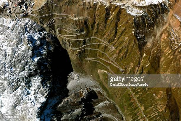 DigitalGlobe Satellite Imagery of the switchback approaching Stelvio Pass in the Apls Mountains in Northern Italy