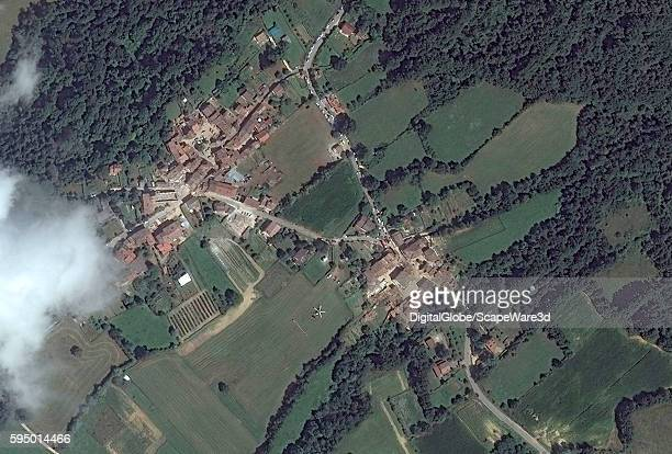 FLAVIANO ITALY AUGUST 24 2016 DigitalGlobe AFTER satellite image of the village of San Lorenzo FlavianoAFTER the earthquake hit on August 24th 2016