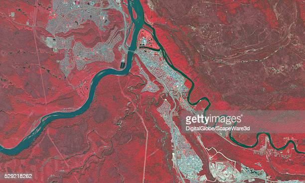 MCMURRAY ALBERTA CANADA AUGUST 27 2015 DigitalGlobe BEFORE infrared satellite image of Fort McMurray in Alberta before the devastating wildfire hit...