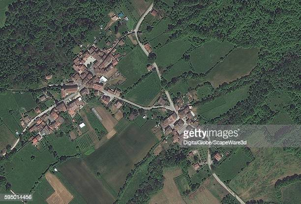 FLAVIANO ITALY MAY 21 2016 DigitalGlobe BEFORE satellite image of the village of San Lorenzo FlavianoBEFORE the earthquake hit on August 24th 2016