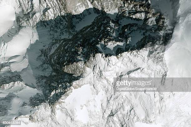DigitalGlobe closeup image of the K2 Mountain in Northern Pakistan It is the second highest mountain in the world after Mount Everest at 8611 metres...