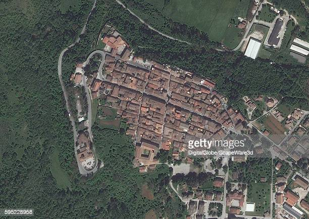 AMATRICE ITALY MAY 21 2016 DigitalGlobe closeup satellite image of the village of AmatriceBEFORE the earthquake hit on August 24th 2016