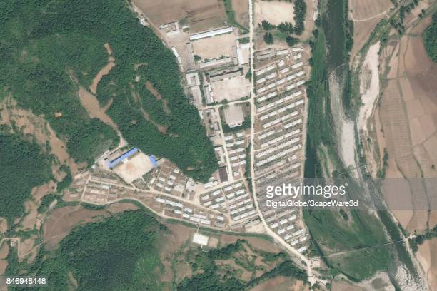 KOREA JUNE 8 2015 DigitalGlobe closeup satellite imagery of Camp 15 in North Korea Yodok iis a political prison camp in North Korea The official name...