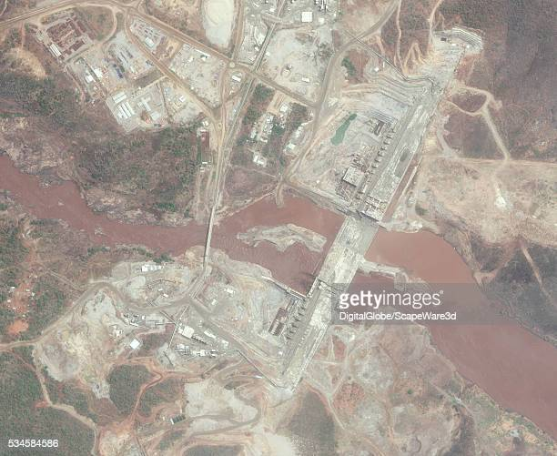 DigitalGlobe via Getty Images highresolution satellite imagery of the The Grand Ethiopian Renaissance Dam currently under construction Photo...
